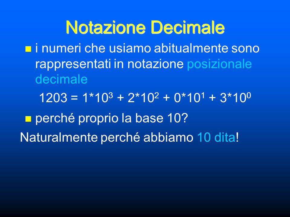 Notazione Decimale i numeri che usiamo abitualmente sono rappresentati in notazione posizionale decimale 1203 = 1*10 3 + 2*10 2 + 0*10 1 + 3*10 0 Naturalmente perché abbiamo 10 dita.
