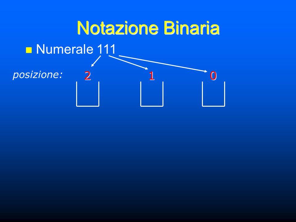 Notazione Binaria Numerale 111 posizione:201