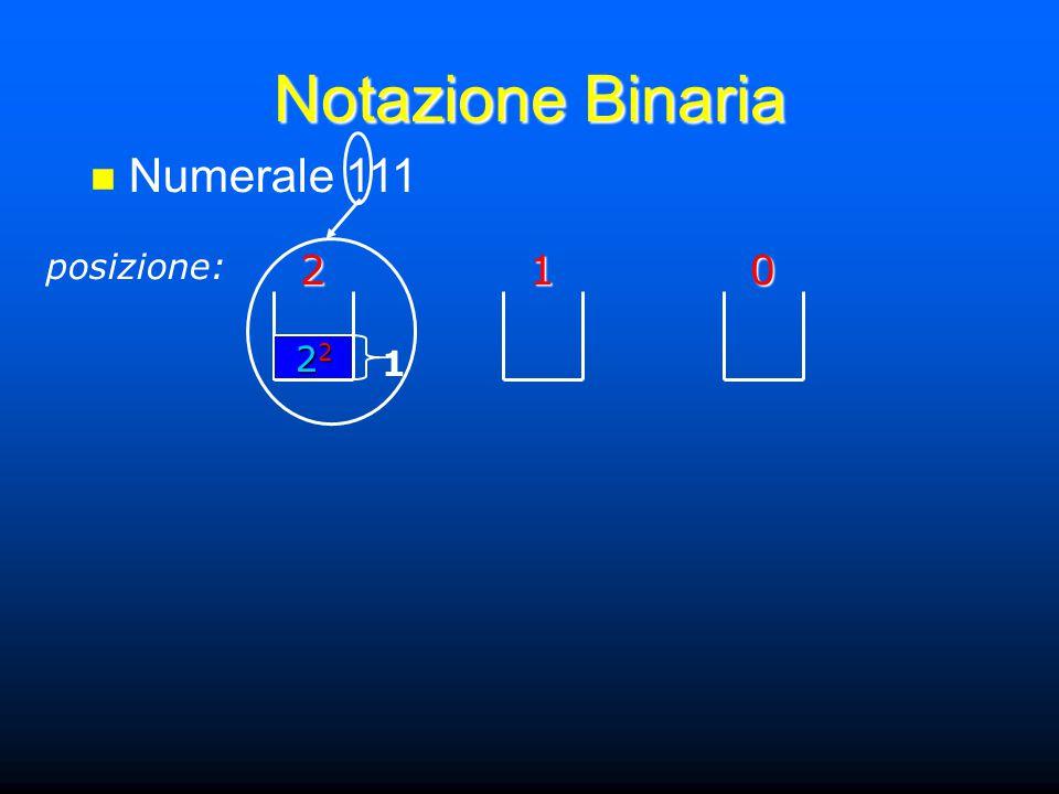 Notazione Binaria Numerale 111 posizione:201 22222222 1