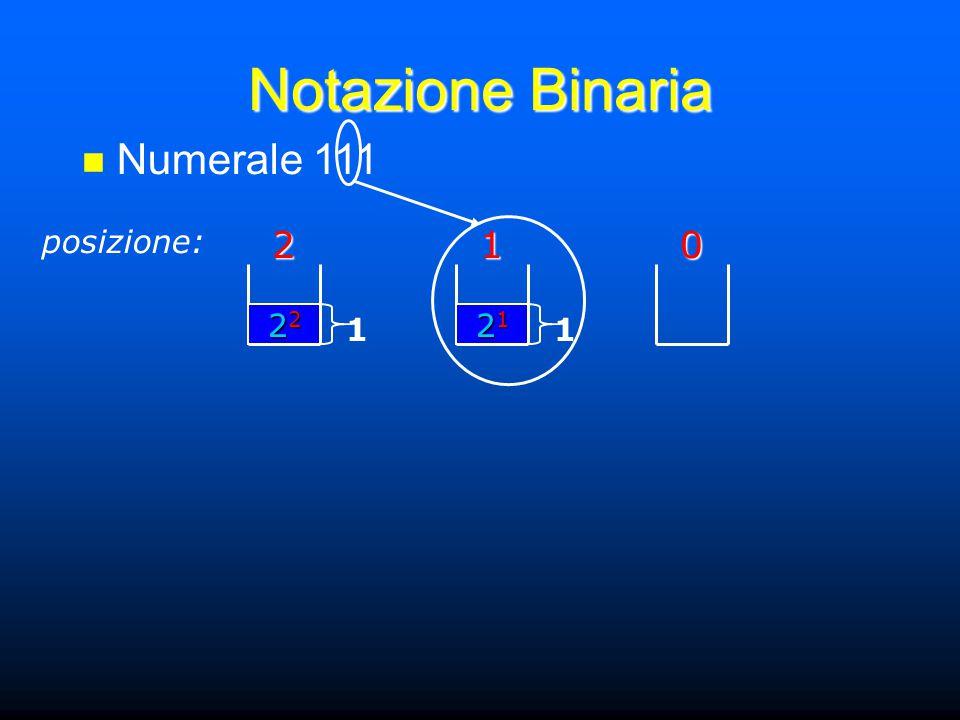 Notazione Binaria Numerale 111 posizione:201 21212121 1 22222222 1