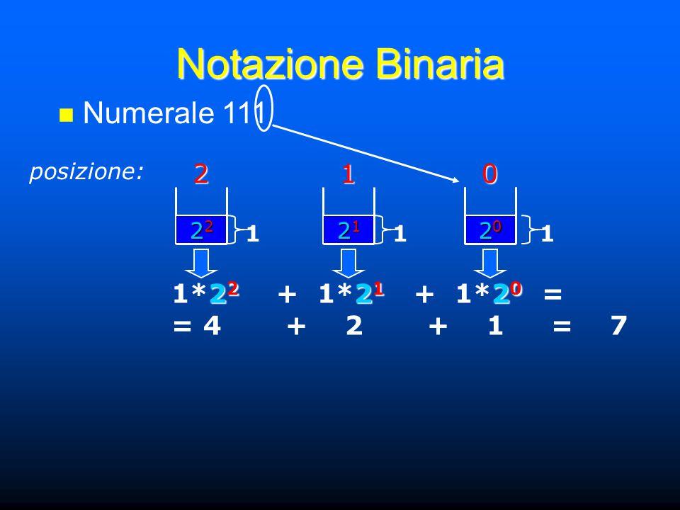 Notazione Binaria Numerale 111 posizione:201 21212121 1 22222222 1 20202020 1 2 2 2 1 2 0 1*2 2 + 1*2 1 + 1*2 0 = = 4 + 2 + 1 = 7