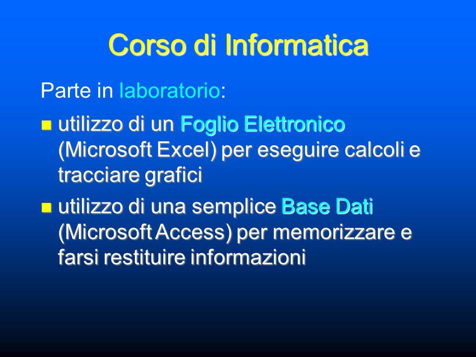 Corso di Informatica utilizzo di un Foglio Elettronico (Microsoft Excel) per eseguire calcoli e tracciare grafici utilizzo di un Foglio Elettronico (M