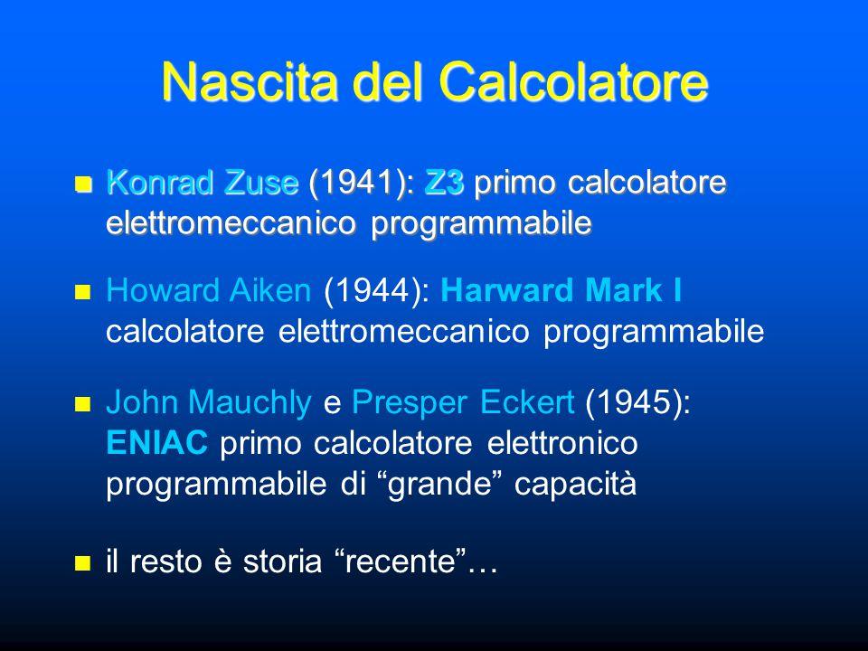 Nascita del Calcolatore il calcolatore nasce da esigenze pratiche di calcolo numerico –calcoli matematici (Schickard) –calcolo di imposte fiscali (Pascal) –calcoli scientifici (Leibniz) –calcoli di ingegneria civile (Zuse) sappiamo (e vedremo durante il corso) che oggi i calcolatori sono usati per elaborare informazioni numeriche e non- numeriche (parole, immagini, suoni, …)
