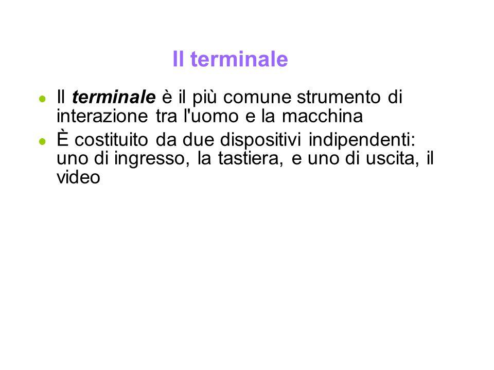 Il terminale l Il terminale è il più comune strumento di interazione tra l'uomo e la macchina l È costituito da due dispositivi indipendenti: uno di i