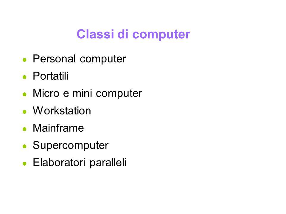 Informatica Generale Classi di computer l Personal computer l Portatili l Micro e mini computer l Workstation l Mainframe l Supercomputer l Elaborator