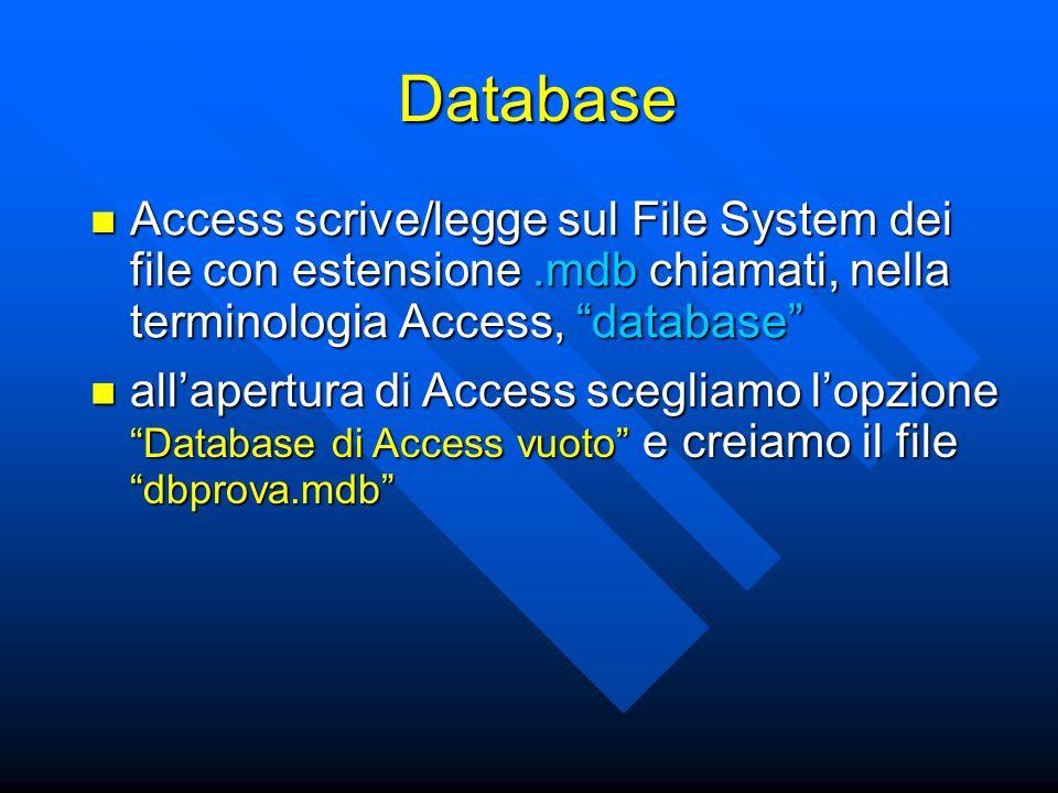 Database Access scrive/legge sul File System dei file con estensione.mdb chiamati, nella terminologia Access, database Access scrive/legge sul File System dei file con estensione.mdb chiamati, nella terminologia Access, database all'apertura di Access scegliamo l'opzione Database di Access vuoto e creiamo il file dbprova.mdb all'apertura di Access scegliamo l'opzione Database di Access vuoto e creiamo il file dbprova.mdb