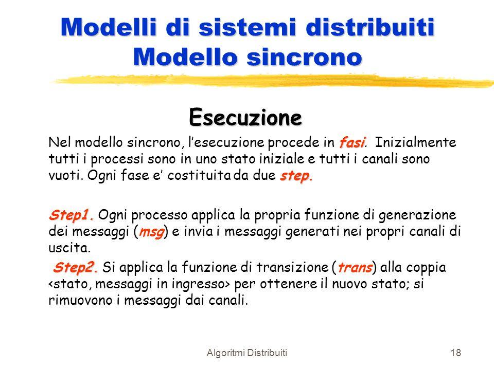 Algoritmi Distribuiti18 Modelli di sistemi distribuiti Modello sincrono Esecuzione fasi step. Nel modello sincrono, l'esecuzione procede in fasi. Iniz