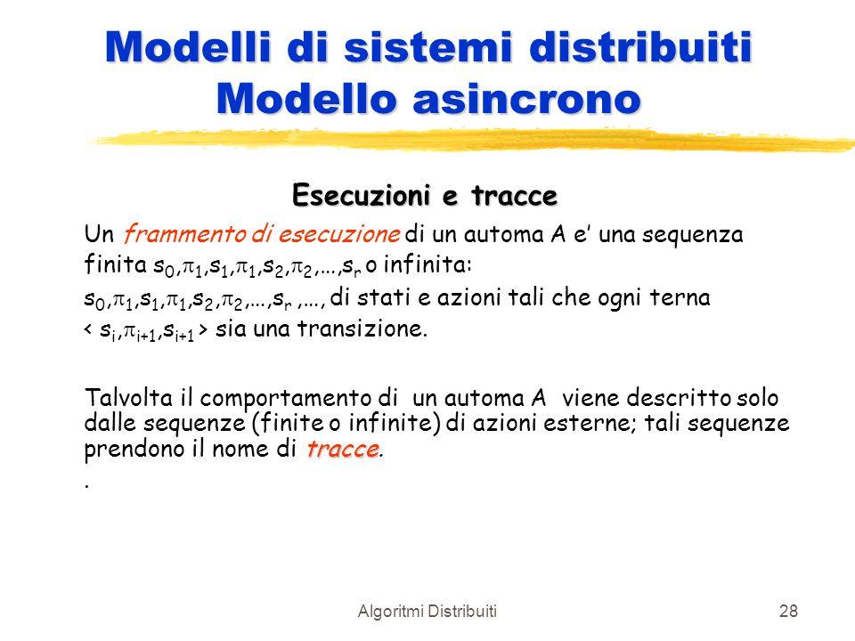 Algoritmi Distribuiti28 Modelli di sistemi distribuiti Modello asincrono Esecuzioni e tracce Un frammento di esecuzione di un automa A e' una sequenza