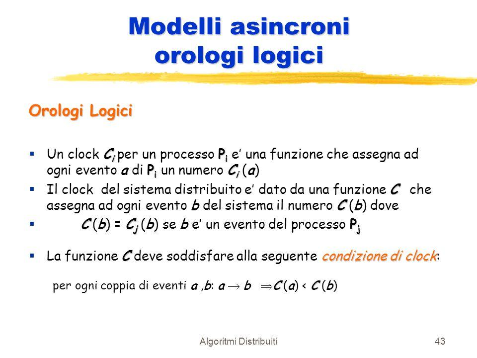 Algoritmi Distribuiti43 Modelli asincroni orologi logici Orologi Logici C i P i P i C i  Un clock C i per un processo P i e' una funzione che assegna