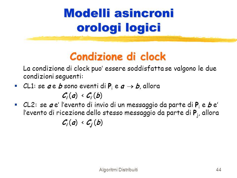 Algoritmi Distribuiti44 Modelli asincroni orologi logici Condizione di clock La condizione di clock puo' essere soddisfatta se valgono le due condizio