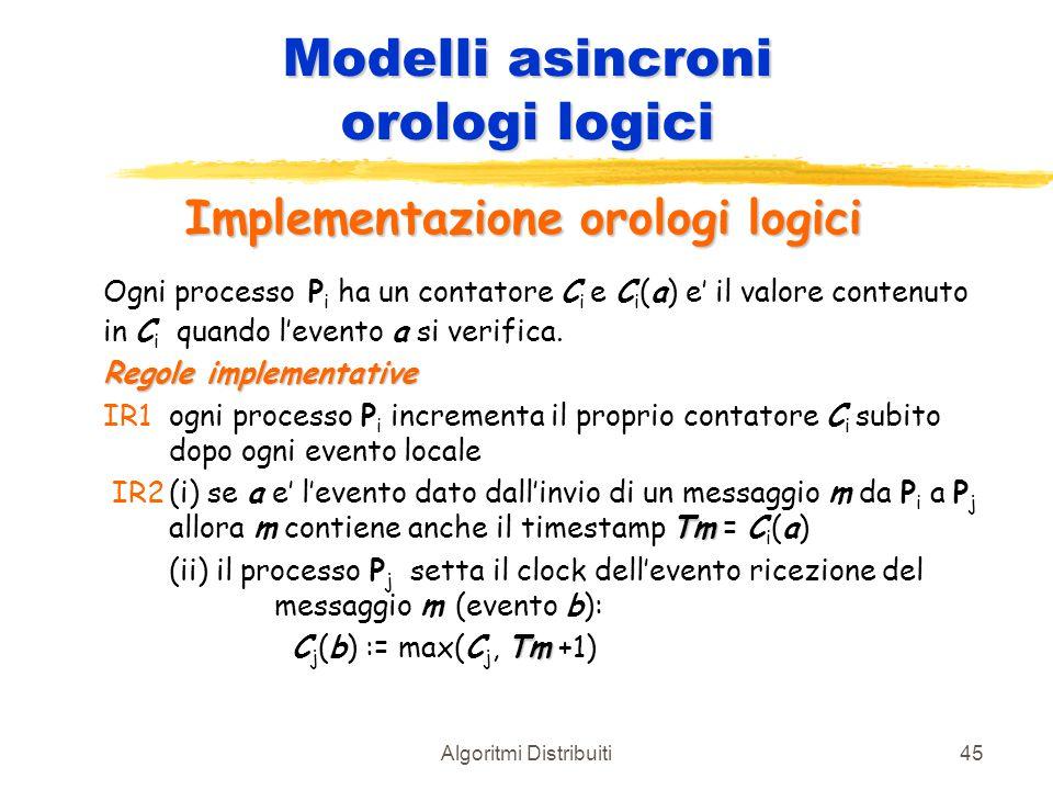 Algoritmi Distribuiti45 Modelli asincroni orologi logici Implementazione orologi logici Ogni processo P i ha un contatore C i e C i (a) e' il valore c