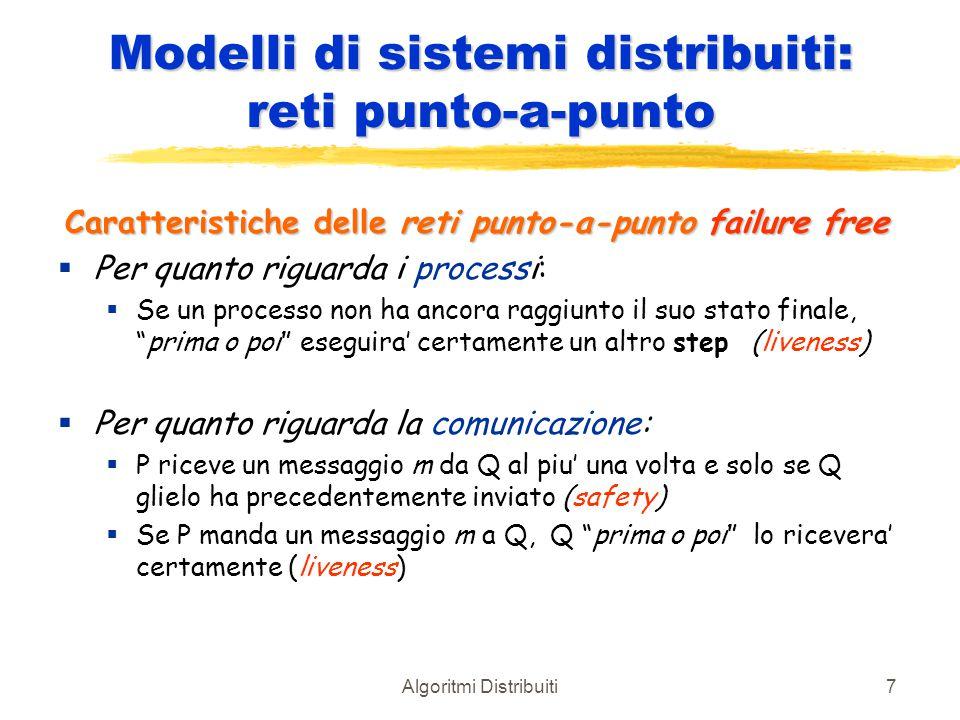 Algoritmi Distribuiti7 Modelli di sistemi distribuiti: reti punto-a-punto Caratteristiche delle reti punto-a-punto failure free  Per quanto riguarda