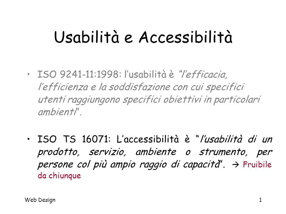"""Web Design1 Usabilità e Accessibilità ISO 9241-11:1998: l'usabilità è """"l'efficacia, l'efficienza e la soddisfazione con cui specifici utenti raggiungo"""