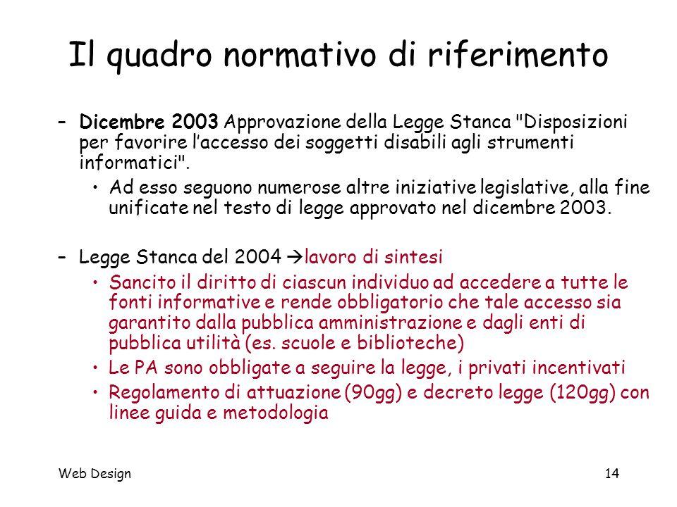 Web Design14 Il quadro normativo di riferimento –Dicembre 2003 Approvazione della Legge Stanca