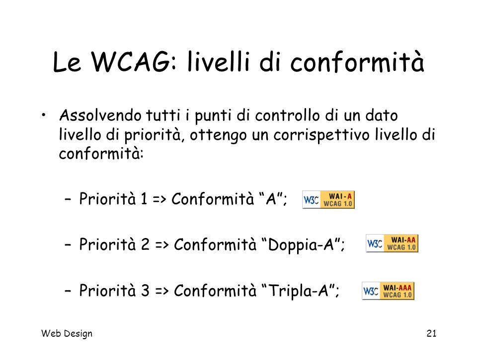 Web Design21 Le WCAG: livelli di conformità Assolvendo tutti i punti di controllo di un dato livello di priorità, ottengo un corrispettivo livello di