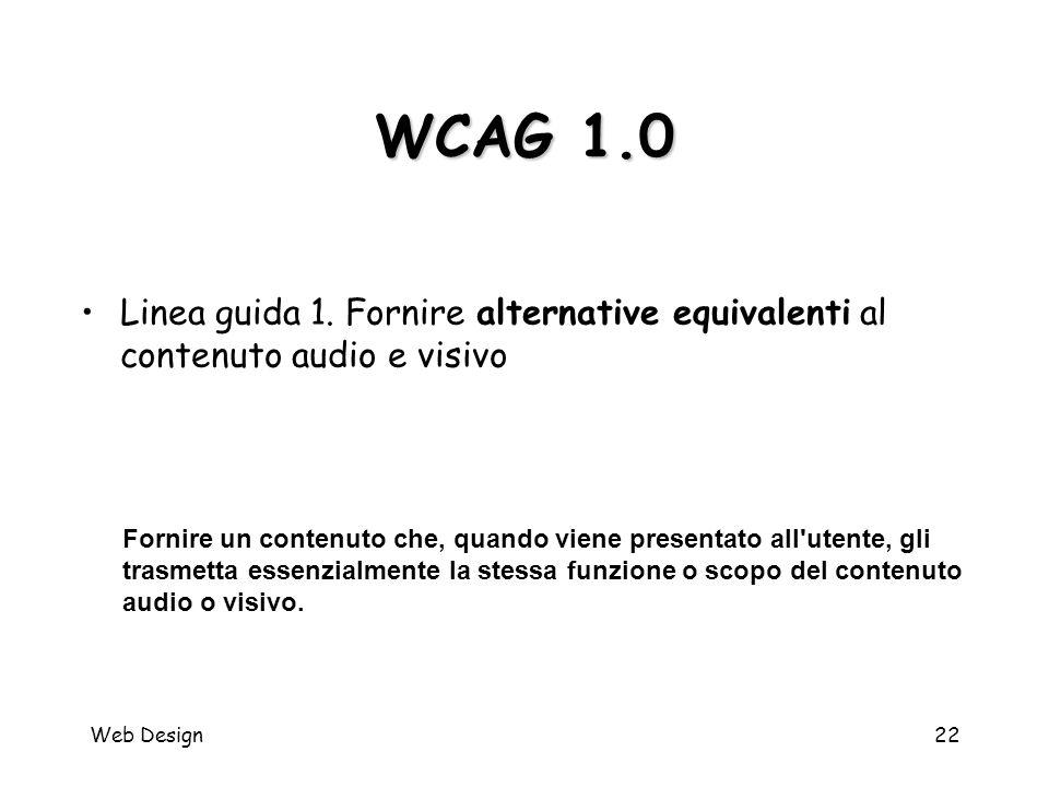 Web Design22 WCAG 1.0 Fornire un contenuto che, quando viene presentato all'utente, gli trasmetta essenzialmente la stessa funzione o scopo del conten