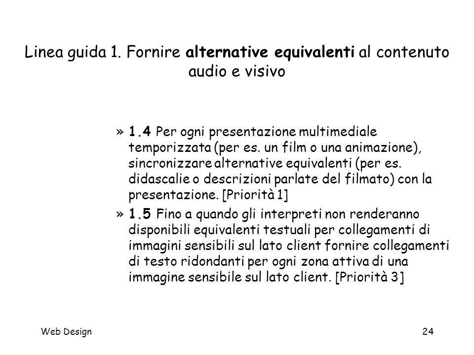 Web Design24 Linea guida 1. Fornire alternative equivalenti al contenuto audio e visivo »1.4 Per ogni presentazione multimediale temporizzata (per es.