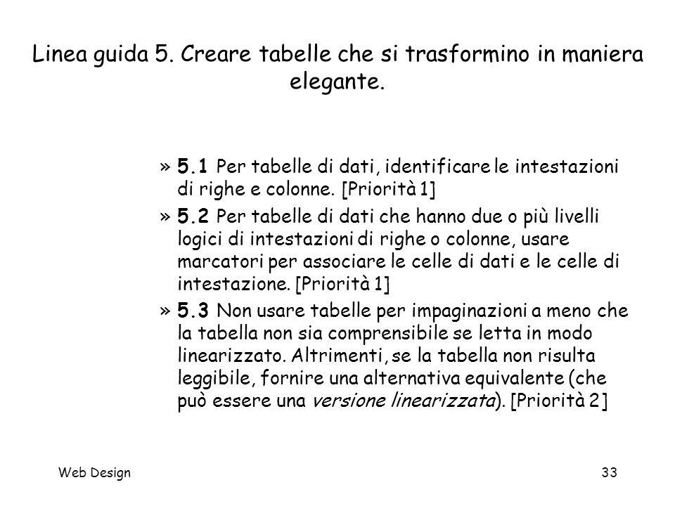 Web Design33 Linea guida 5. Creare tabelle che si trasformino in maniera elegante. »5.1 Per tabelle di dati, identificare le intestazioni di righe e c