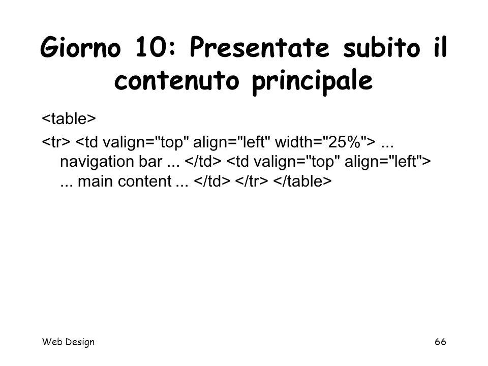 Web Design66 Giorno 10: Presentate subito il contenuto principale... navigation bar...... main content...