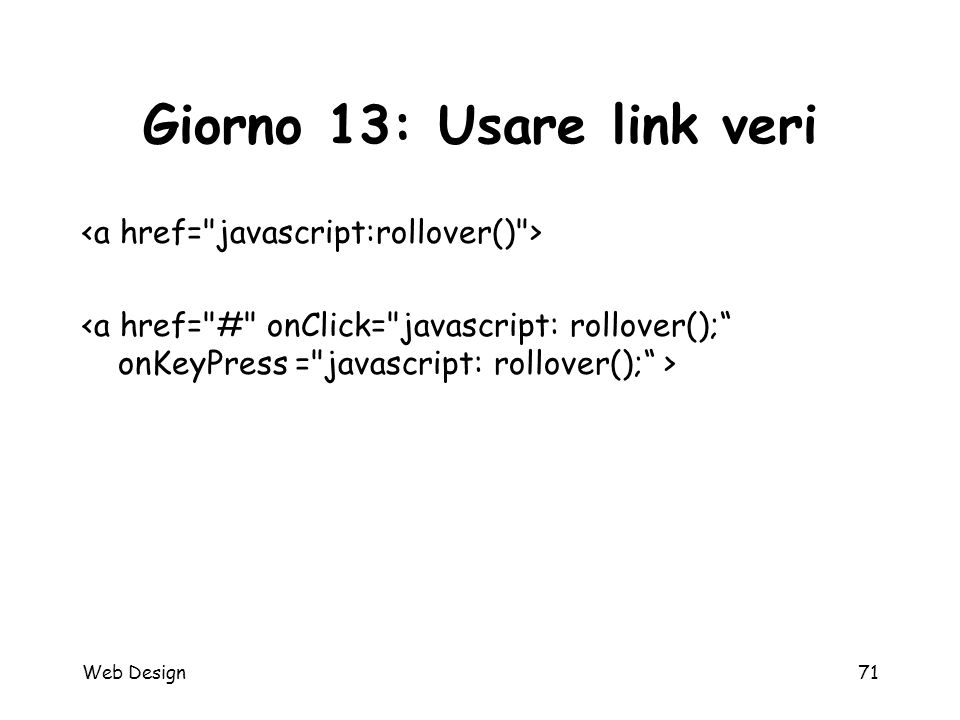 Web Design71 Giorno 13: Usare link veri