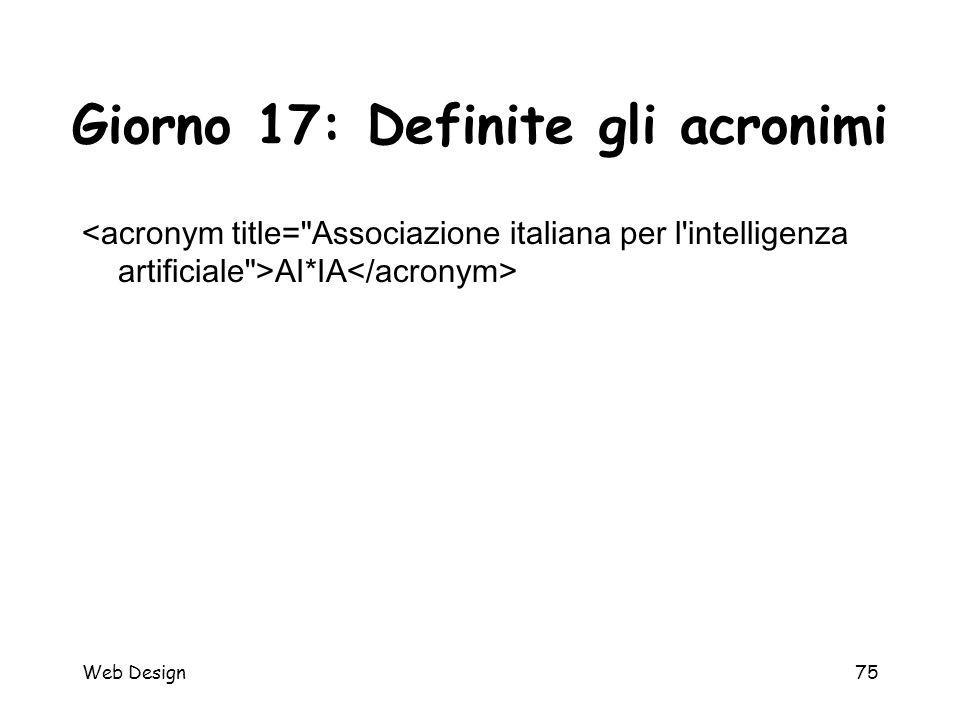 Web Design75 Giorno 17: Definite gli acronimi AI*IA