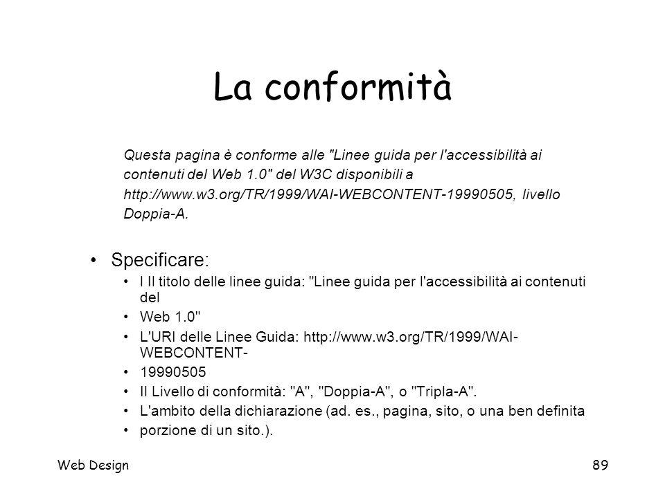 Web Design89 La conformità Questa pagina è conforme alle