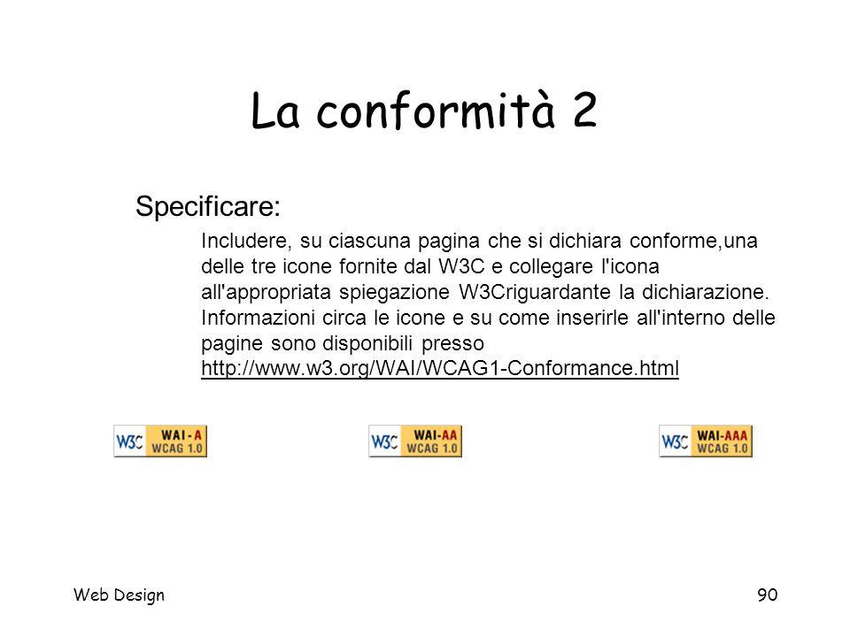 Web Design90 La conformità 2 Specificare: Includere, su ciascuna pagina che si dichiara conforme,una delle tre icone fornite dal W3C e collegare l'ico