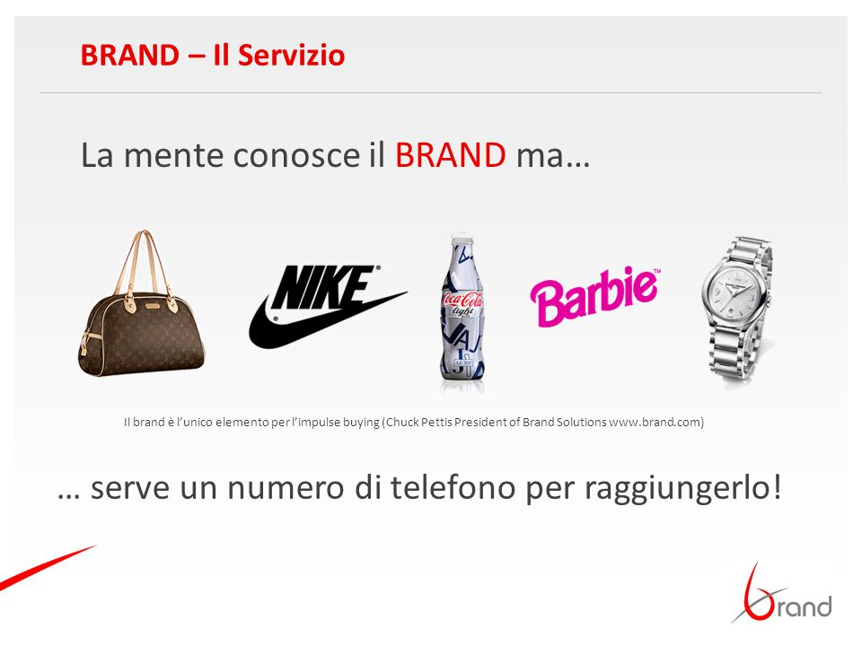 La mente conosce il BRAND ma… BRAND – Il Servizio … serve un numero di telefono per raggiungerlo! Il brand è l'unico elemento per l'impulse buying (Ch