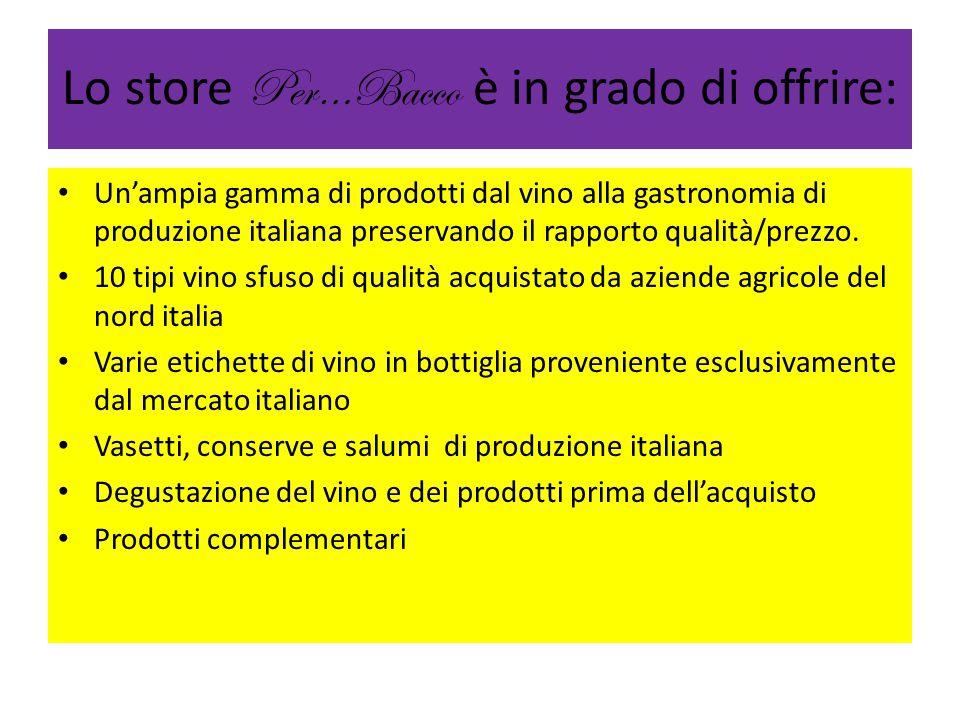 Lo store Per…Bacco è in grado di offrire: Un'ampia gamma di prodotti dal vino alla gastronomia di produzione italiana preservando il rapporto qualità/prezzo.