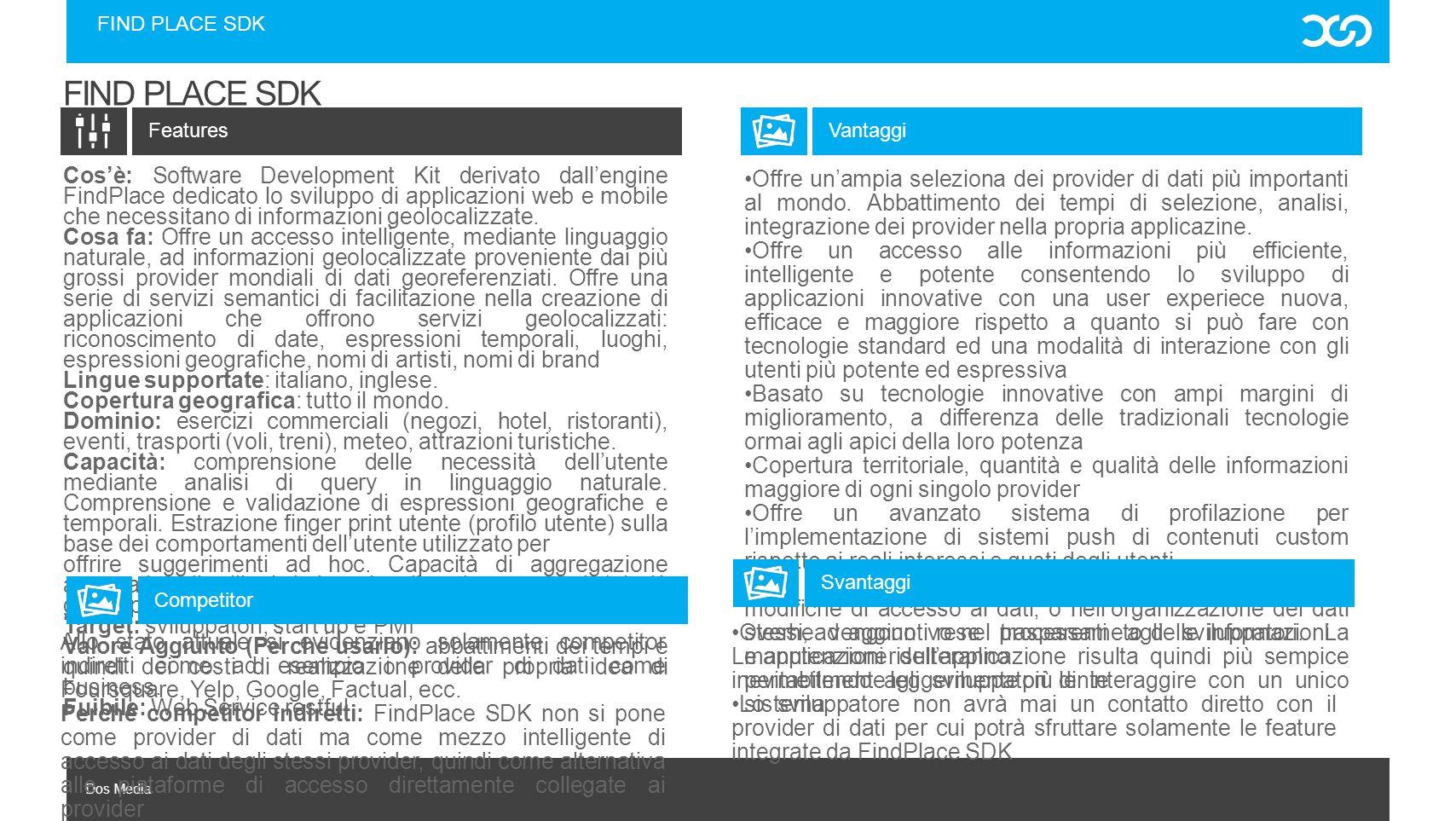 Dos Media FIND PLACE SDK Cos'è: Software Development Kit derivato dall'engine FindPlace dedicato lo sviluppo di applicazioni web e mobile che necessit