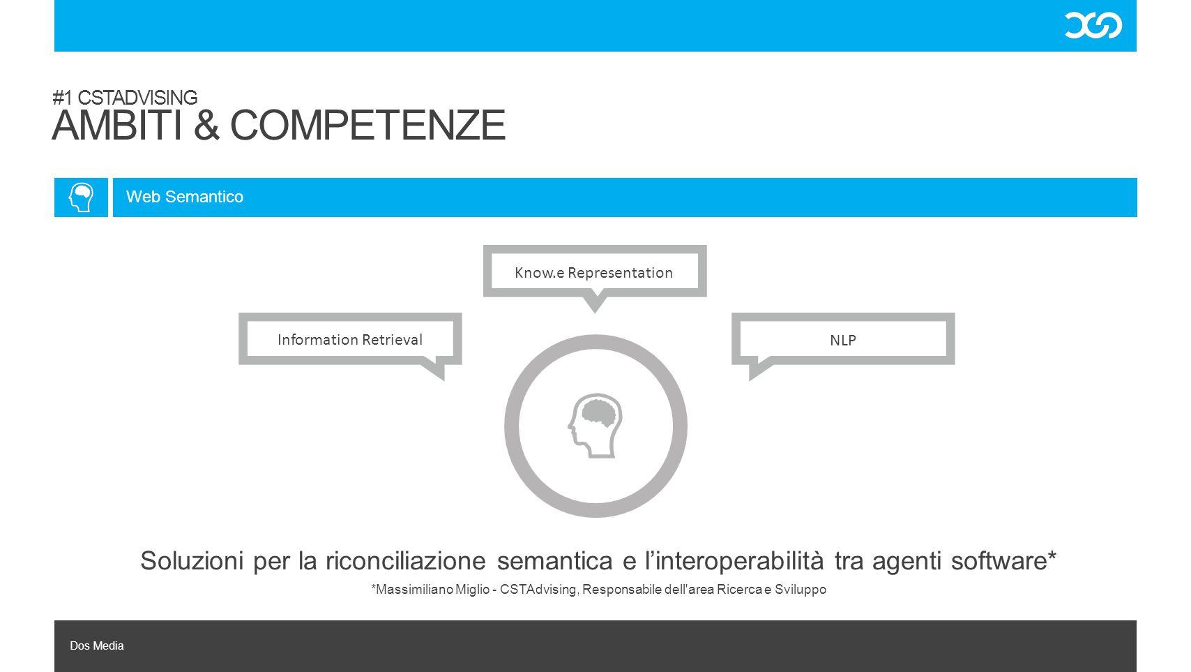Dos Media Soluzioni per la riconciliazione semantica e l'interoperabilità tra agenti software* #1 CSTADVISING AMBITI & COMPETENZE Web Semantico NLP In