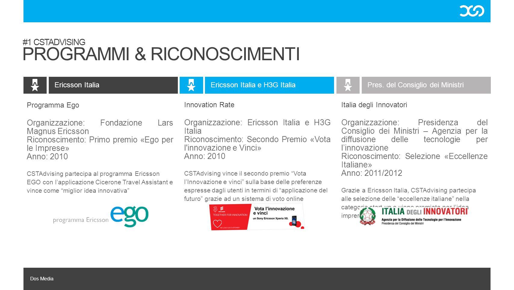 Dos Media Italia degli Innovatori Organizzazione: Presidenza del Consiglio dei Ministri – Agenzia per la diffusione delle tecnologie per l'innovazione