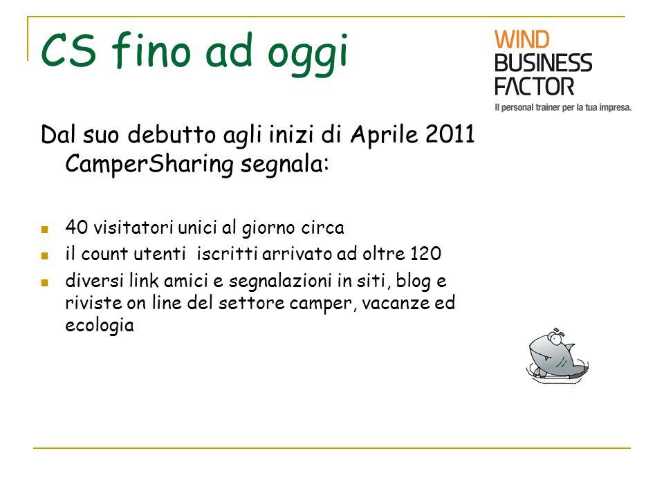 CS fino ad oggi Dal suo debutto agli inizi di Aprile 2011 CamperSharing segnala: 40 visitatori unici al giorno circa il count utenti iscritti arrivato