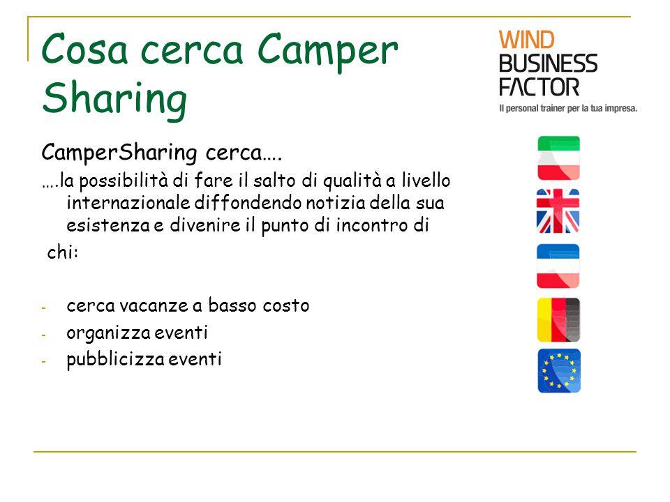 Cosa cerca Camper Sharing CamperSharing cerca…. ….la possibilità di fare il salto di qualità a livello internazionale diffondendo notizia della sua es