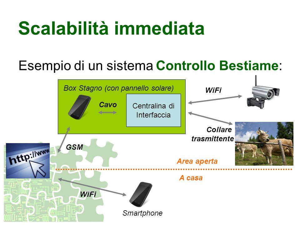 Centralina di Interfaccia Box Stagno (con pannello solare) Cavo Scalabilità immediata Esempio di un sistema Controllo Bestiame: Collare trasmittente G