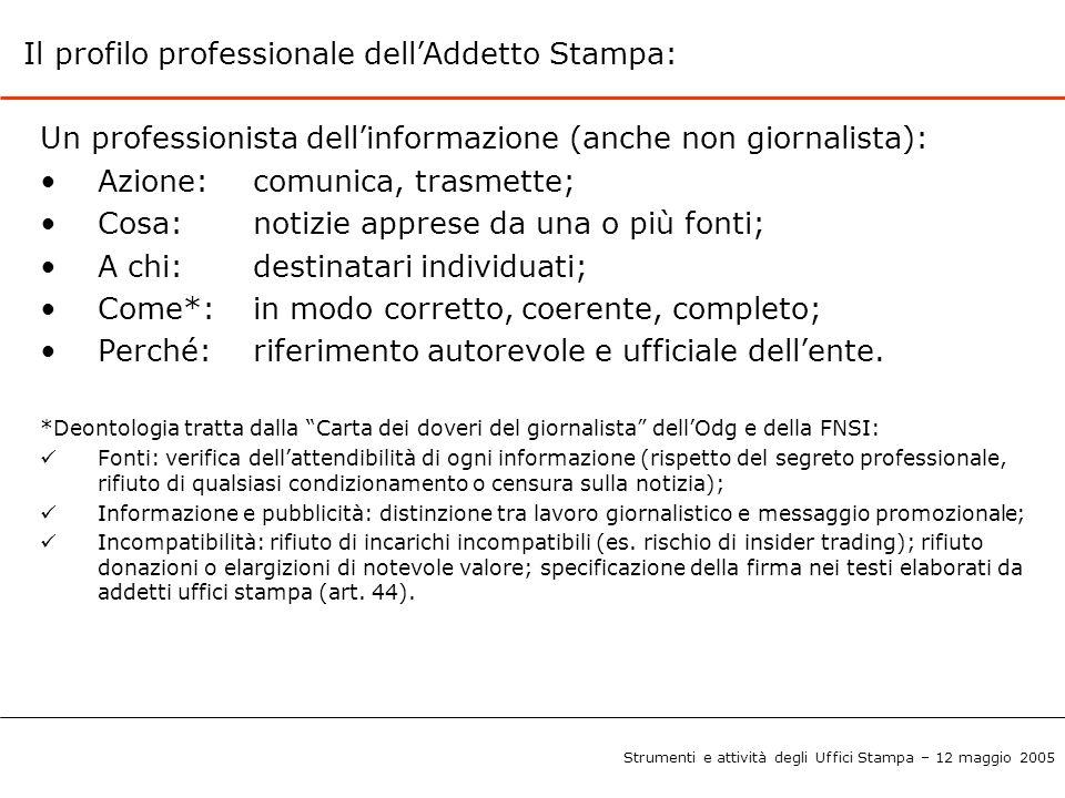 Il profilo professionale dell'Addetto Stampa: Un professionista dell'informazione (anche non giornalista): Azione:comunica, trasmette; Cosa: notizie a