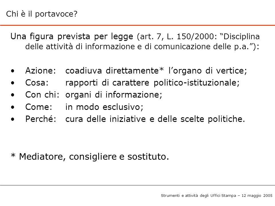"""Chi è il portavoce? Una figura prevista per legge (art. 7, L. 150/2000: """"Disciplina delle attività di informazione e di comunicazione delle p.a."""") : A"""