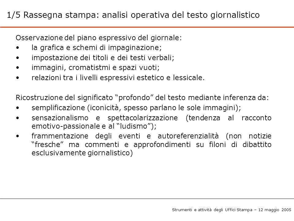 1/5 Rassegna stampa: analisi operativa del testo giornalistico Osservazione del piano espressivo del giornale: la grafica e schemi di impaginazione; i