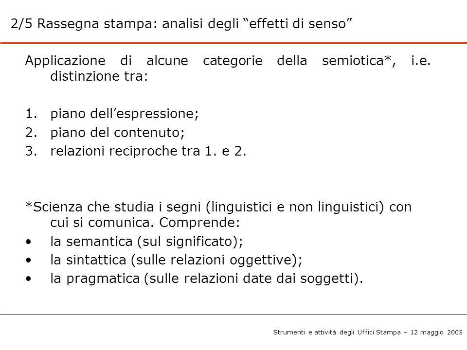 """2/5 Rassegna stampa: analisi degli """"effetti di senso"""" Applicazione di alcune categorie della semiotica*, i.e. distinzione tra: 1.piano dell'espression"""