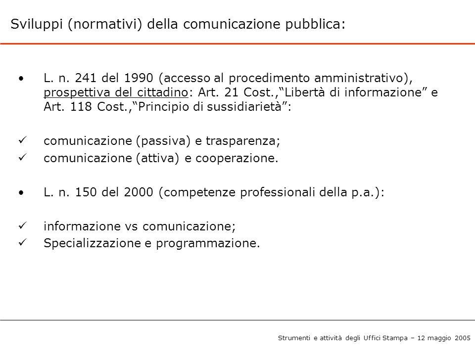 La comunicazione dell'istituzione pubblica: Comunicazione istituzionale Comunicazione normativa Comunicazione di pubblico servizio * Comunicazione sociale * *Praticata anche da istituzioni semi-pubbliche e private Strumenti e attività degli Uffici Stampa – 12 maggio 2005