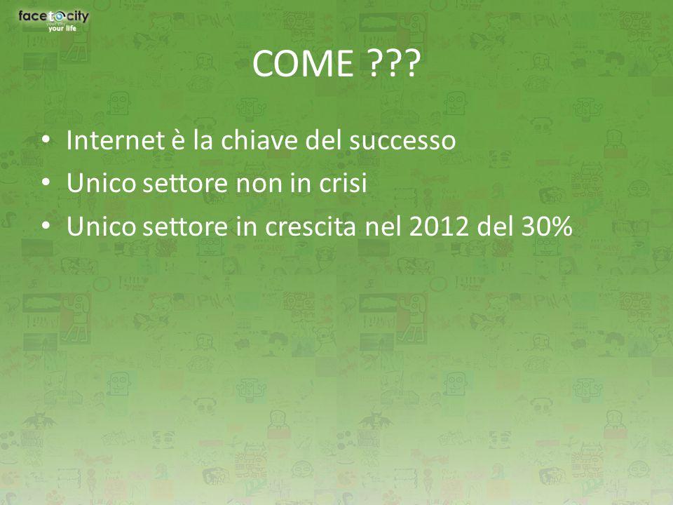 COME ??? Internet è la chiave del successo Unico settore non in crisi Unico settore in crescita nel 2012 del 30%