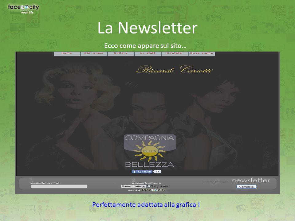 La Newsletter Ecco come appare sul sito… Perfettamente adattata alla grafica !