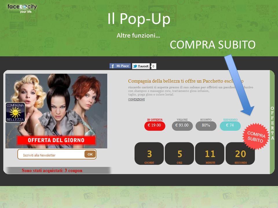 Il Pop-Up Altre funzioni… COMPRA SUBITO