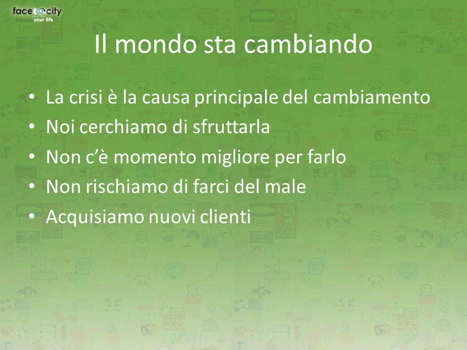 Il mondo sta cambiando La crisi è la causa principale del cambiamento Noi cerchiamo di sfruttarla Non c'è momento migliore per farlo Non rischiamo di farci del male Acquisiamo nuovi clienti