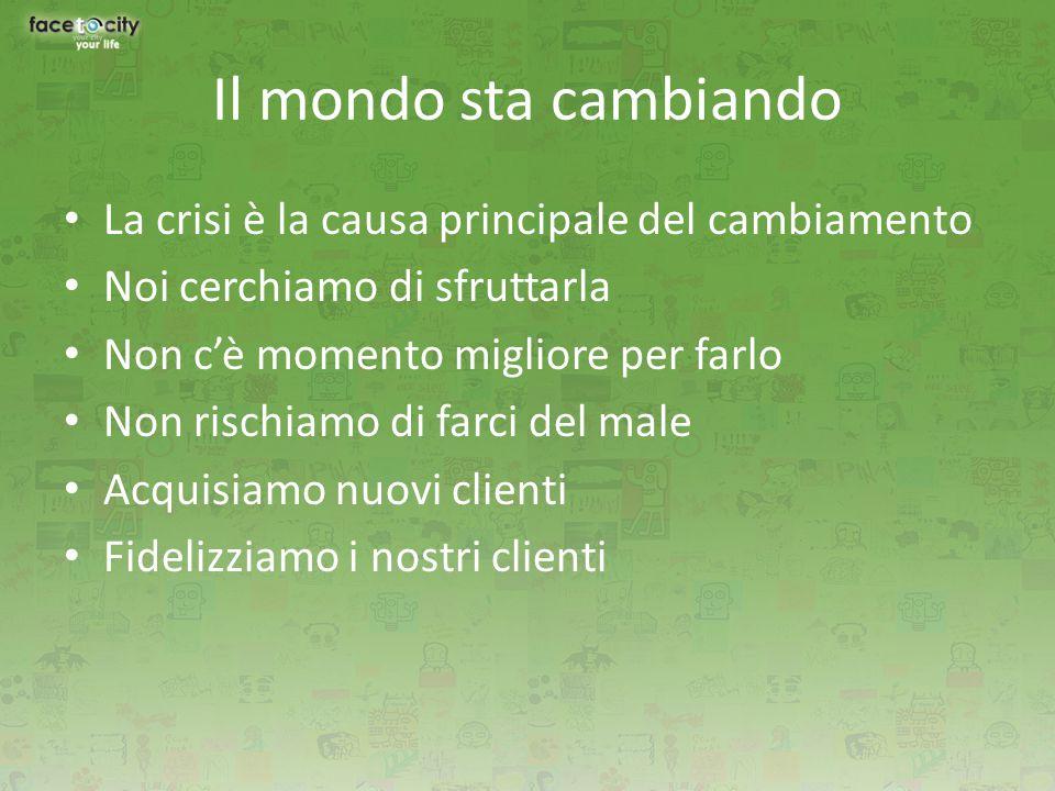 Il mondo sta cambiando La crisi è la causa principale del cambiamento Noi cerchiamo di sfruttarla Non c'è momento migliore per farlo Non rischiamo di farci del male Acquisiamo nuovi clienti Fidelizziamo i nostri clienti