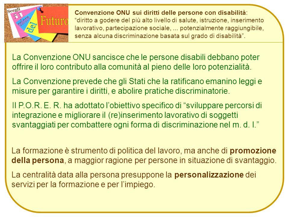 Convenzione ONU sui diritti delle persone con disabilità: diritto a godere del più alto livello di salute, istruzione, inserimento lavorativo, partecipazione sociale,...