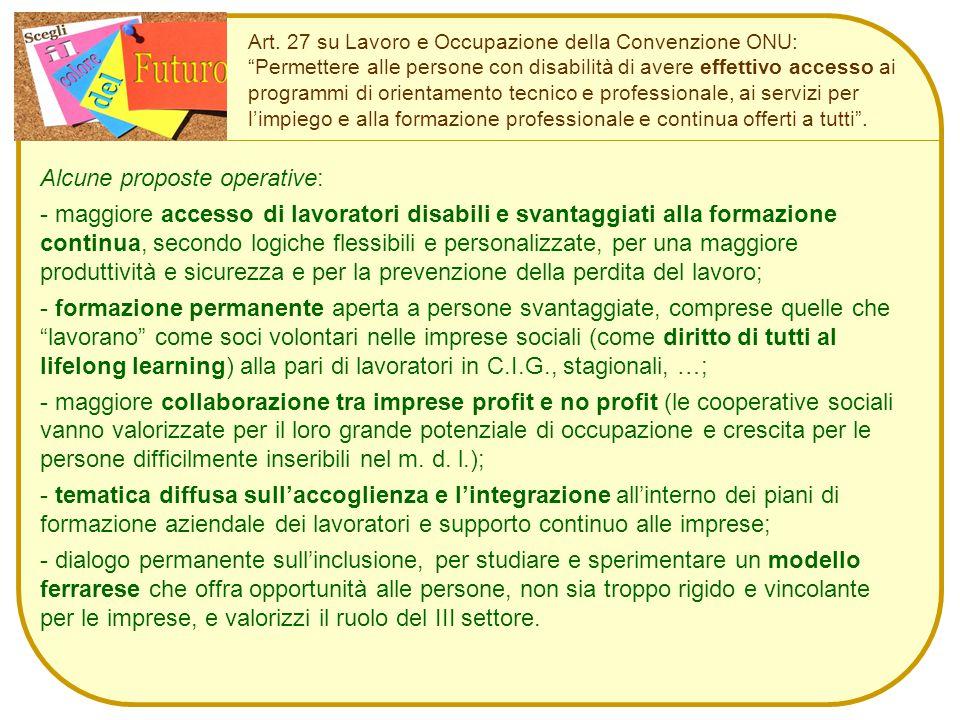 """Art. 27 su Lavoro e Occupazione della Convenzione ONU: """"Permettere alle persone con disabilità di avere effettivo accesso ai programmi di orientamento"""