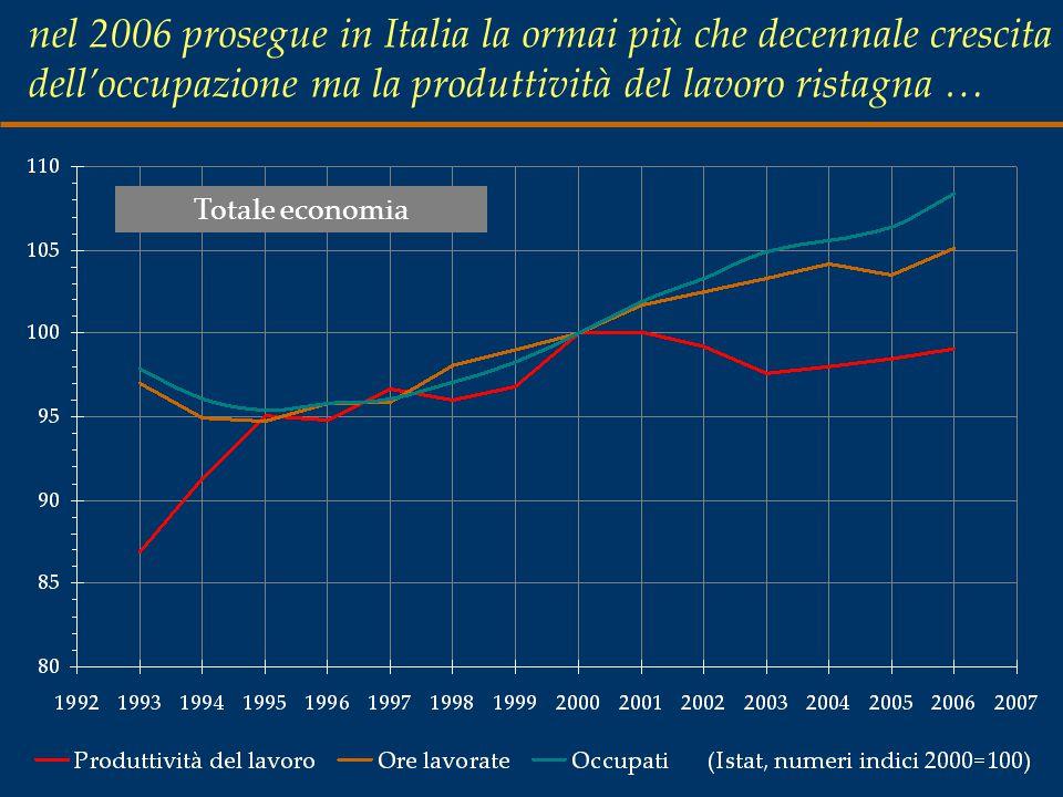 nel 2006 prosegue in Italia la ormai più che decennale crescita dell'occupazione ma la produttività del lavoro ristagna … Totale economia