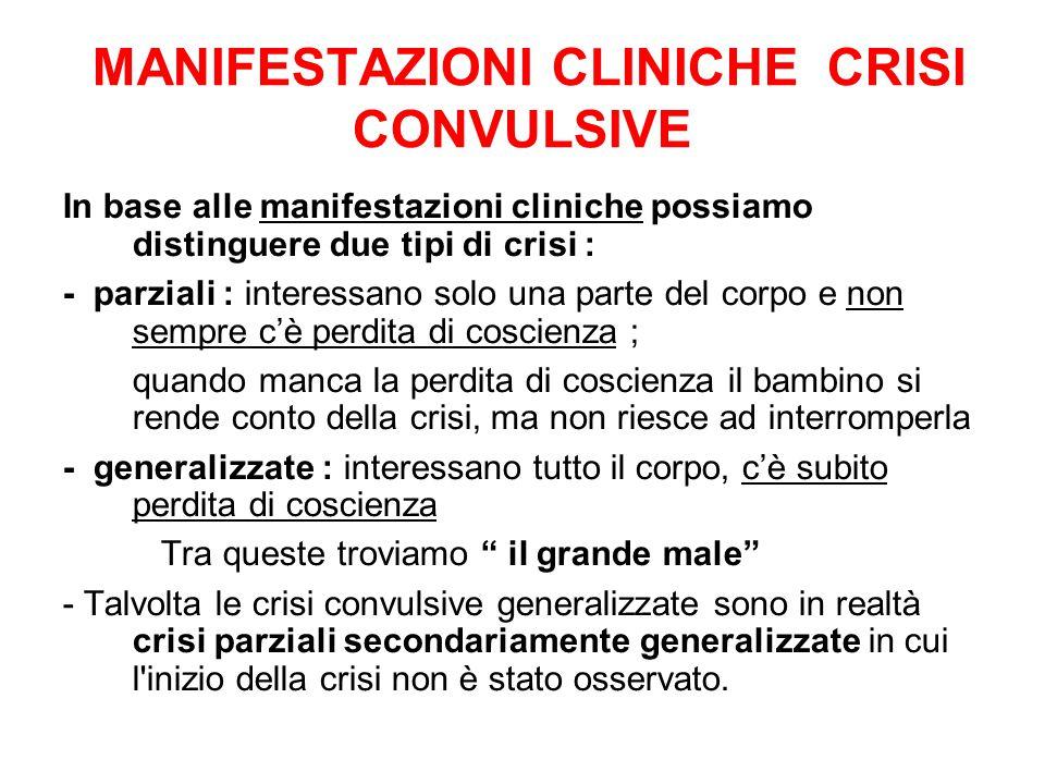 MANIFESTAZIONI CLINICHE CRISI CONVULSIVE In base alle manifestazioni cliniche possiamo distinguere due tipi di crisi : - parziali : interessano solo u