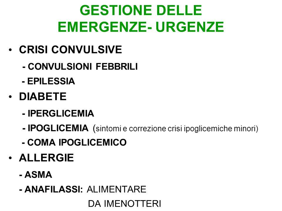 GESTIONE DELLE EMERGENZE- URGENZE CRISI CONVULSIVE - CONVULSIONI FEBBRILI - EPILESSIA DIABETE - IPERGLICEMIA - IPOGLICEMIA ( sintomi e correzione crisi ipoglicemiche minori) - COMA IPOGLICEMICO ALLERGIE - ASMA - ANAFILASSI: ALIMENTARE DA IMENOTTERI
